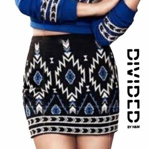 H&M Aztec Beaded Mini Skirt